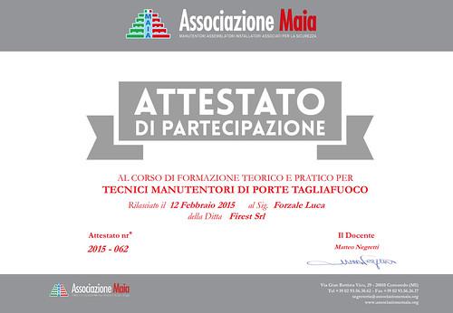 Luca Forzale - Attestato di Tecnico Manutentore Porte Tagliafuoco
