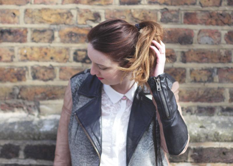 Wallis white lace shirt and leather jacket, Bumpkin Betty