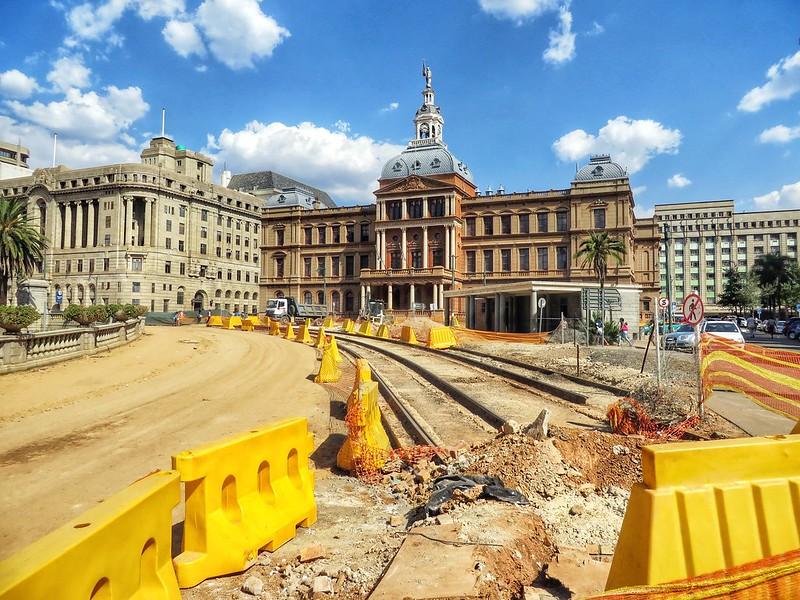 Old tram tracks outside Old Council Building in Church Square, Pretoria