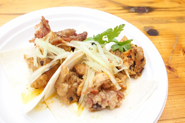 East Side King: chicken inasal with fried chicken skin in tacos. The World Street Food Congress 2015, Tan Quee Lan Street, Bugis, Singapore