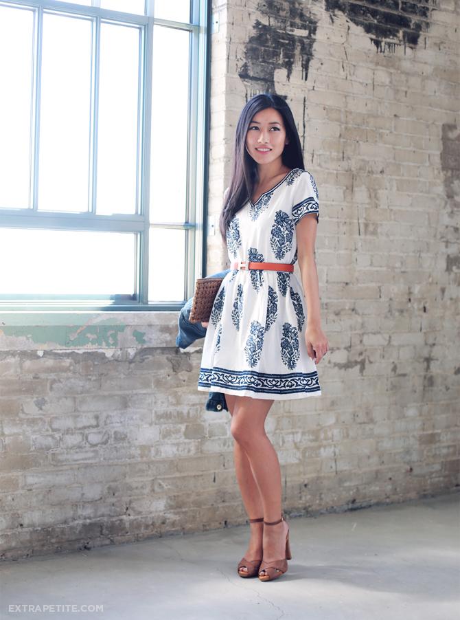 navy white cotton tunic dress1