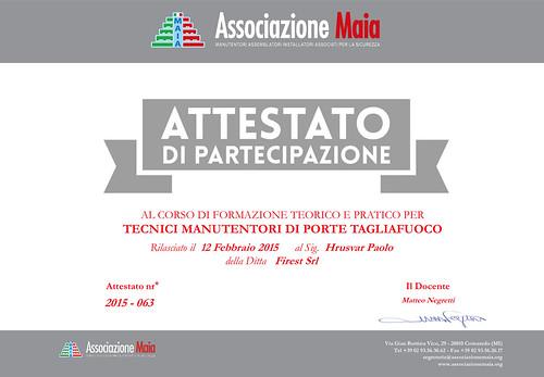 Paolo Hrusvar - Attestato di Tecnico Manutentore Porte Tagliafuoco