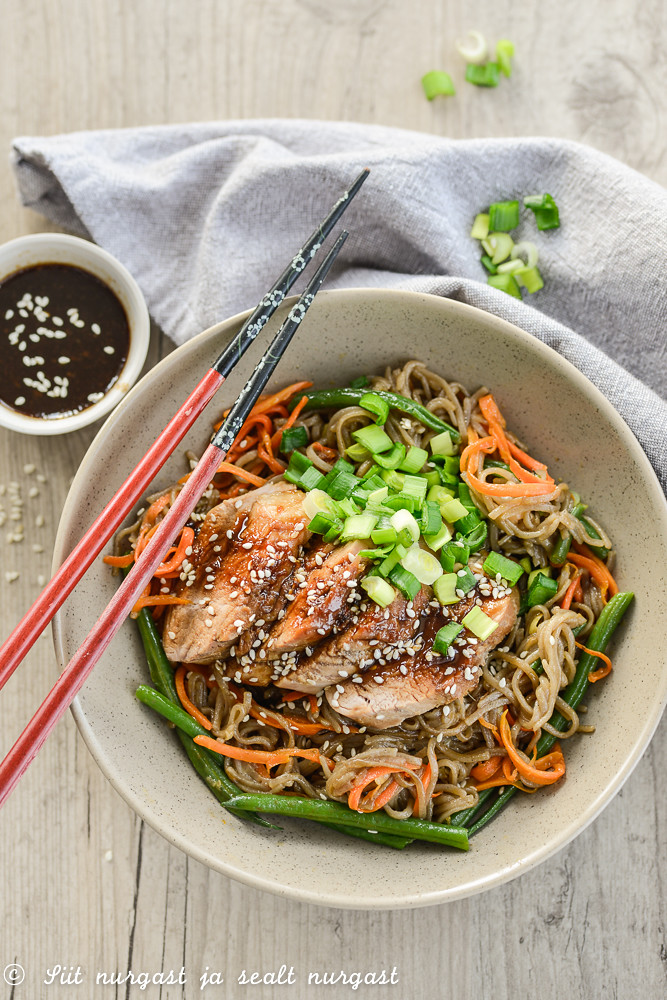 teriyaki pork with udon noodles and vegetables