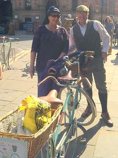 A photo of us with our tandem, at Manchester Tweed Ride. Taken by Laurence H Grant, shared with thanks.