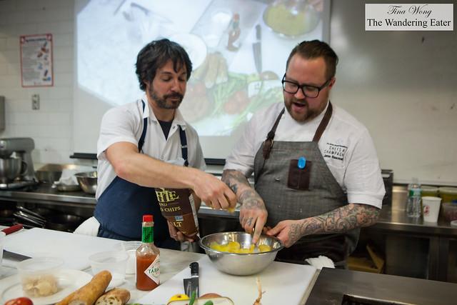 Chef Ken Oringer adding Kettle brand potato chips to the tortilla Española