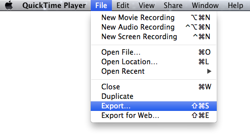 Quicktime Export Menu