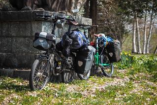Folding touring bicycles near Assabu, Hokkaido, Japan