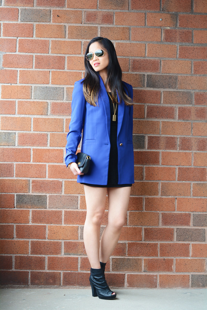 little mini black dress with long blue blazer outfit