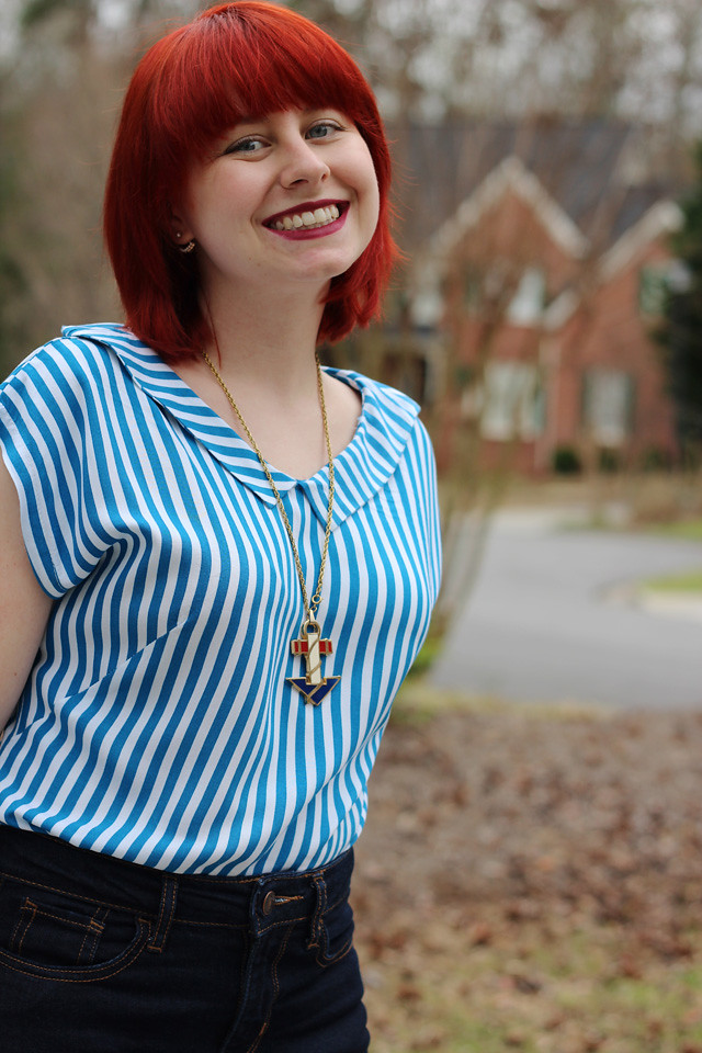 Blue and White Striped Shirt with a Collar and Nautical Necklace