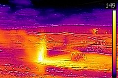 Thermal image of Beehive's Indicator Geyser eruption (4:45-5:07 PM, 3 June 2016)