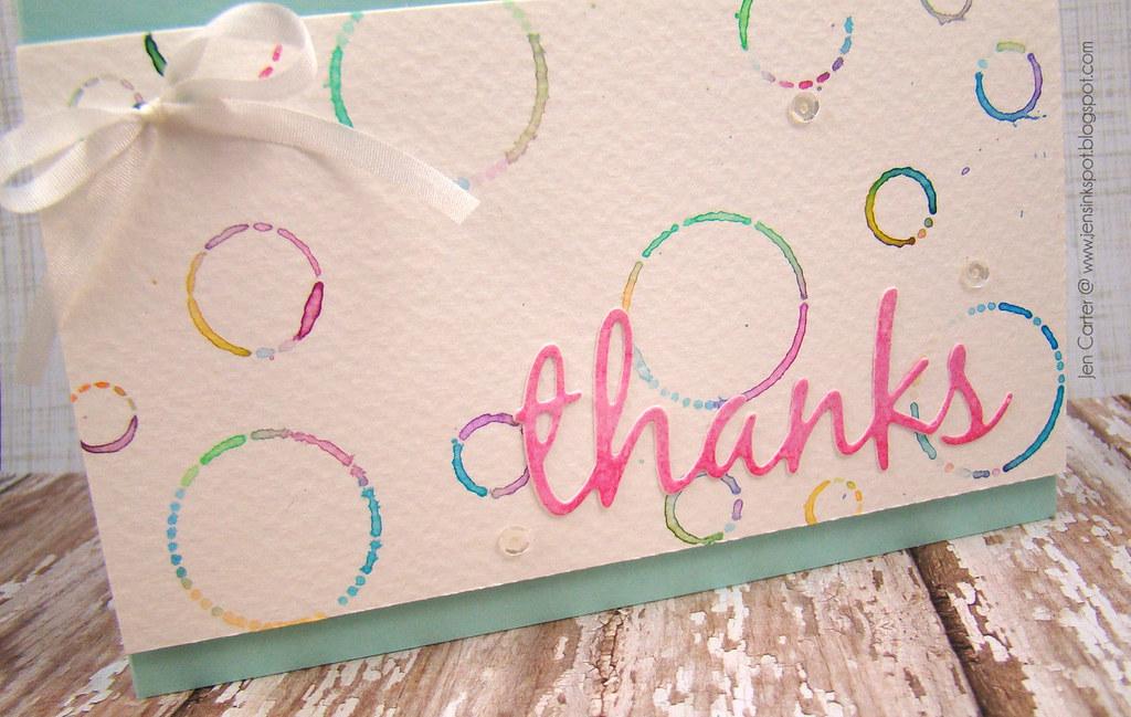 Jen Carter Whimsy Watercolor Circles Circles Thanks Closeup