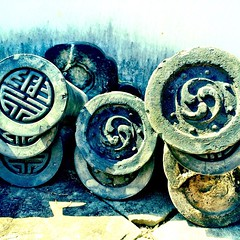 #temple roof tiles, stacked & ready to use #Nagasaki