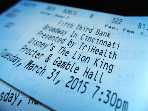 Our tickets to The Lion King
