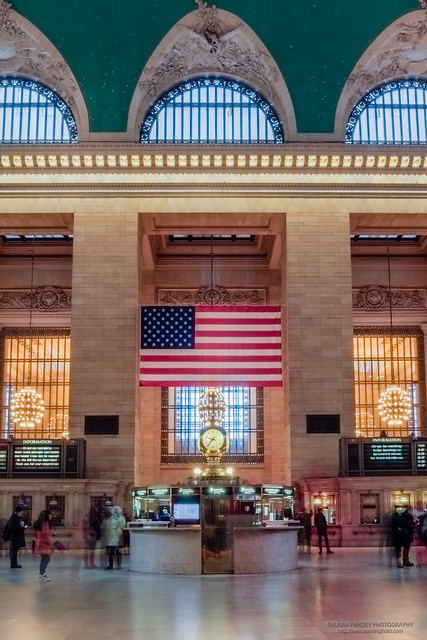 Clock and American Flag at Grand Central Terminal