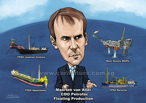 Chief Operating Officer Maarten van Aller digital caricature for Petrofac