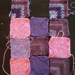 #Squares from leftover #sock #yarn. I think there's a color trend. LOL! #knit #iloveyarn #knittersofinstagram #afghan #blanket