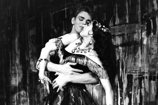 Christopher Gable as The Young Man and Elizabeth Anderton as A Gipsy Girl in Les Deux Pigeons, The Royal Ballet Touring Company, 1961 © ROH. Photograph by Donald Southen