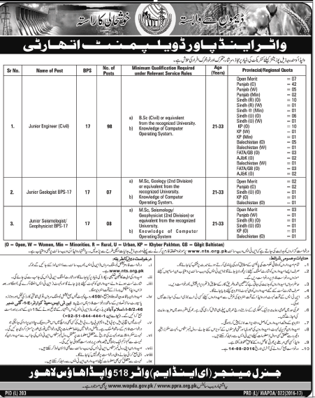 Pakistan Water and Power Development Authority WAPDA 113 Jobs for Officers