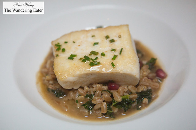 "Dayboat halibut, farro ""risotto style"", squash, kale, pomegranate"