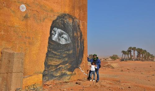 Art graffiti en el desert del Sàhara.