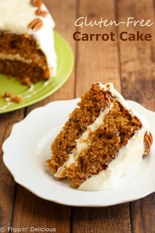 Traditional gluten-free carrot cake frosted with a whipped cream cheese buttercream. Moist and delicious!