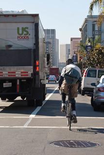 22538 Southbound Polk St. bike lane now striped at California