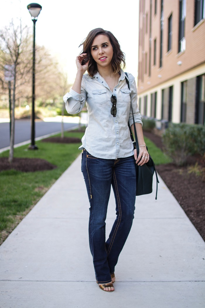 aviza style. a viza style. andrea viza. fashion blogger. dc blogger. spring style. outfit. denim on denim. chambray. bootleg jeans style. bucket bag. 7