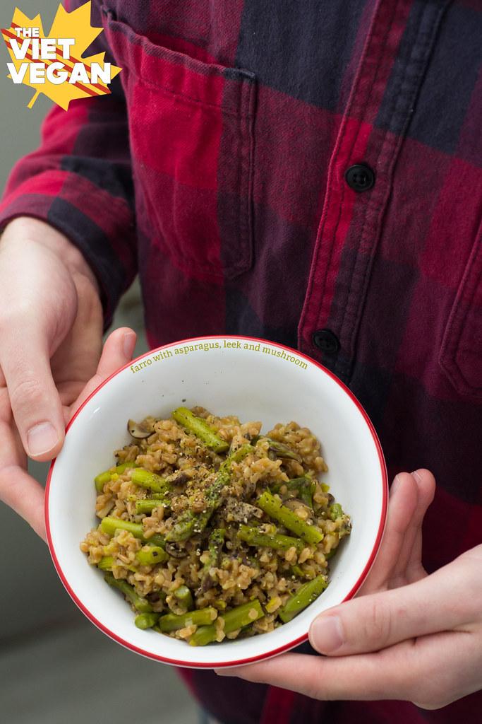 Farro with Asparagus, Leek and Mushroom