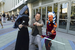 Voice Actor Dee Bradley Baker with Barriss Offee and Ahsoka Tano