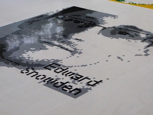 Edward Snowden portrait in Legos, Ai Weiwei exhibit, Alcatraz