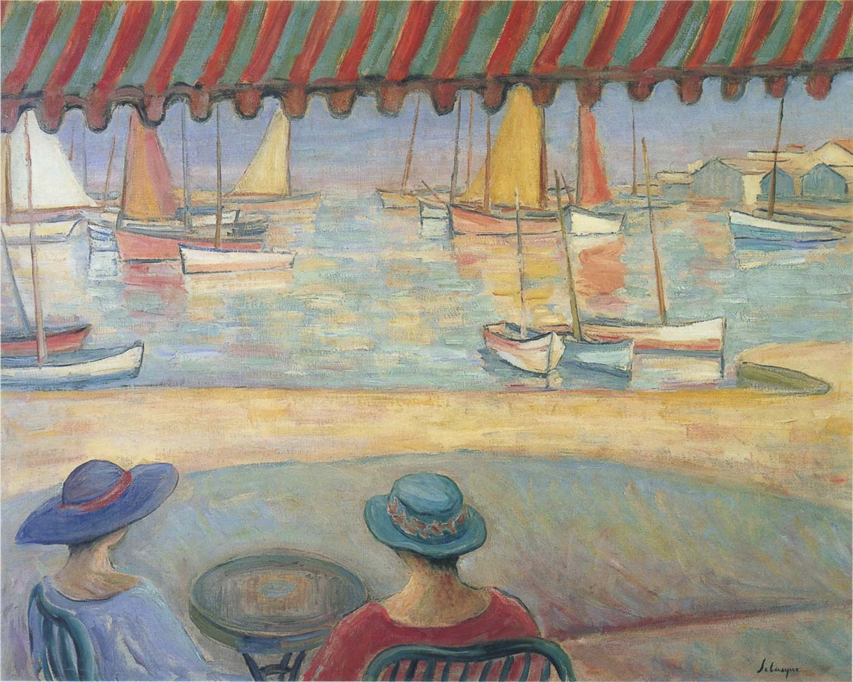 The Cafe on the terrace at St Ile de Yeu by Henri Lebasque - circa 1919