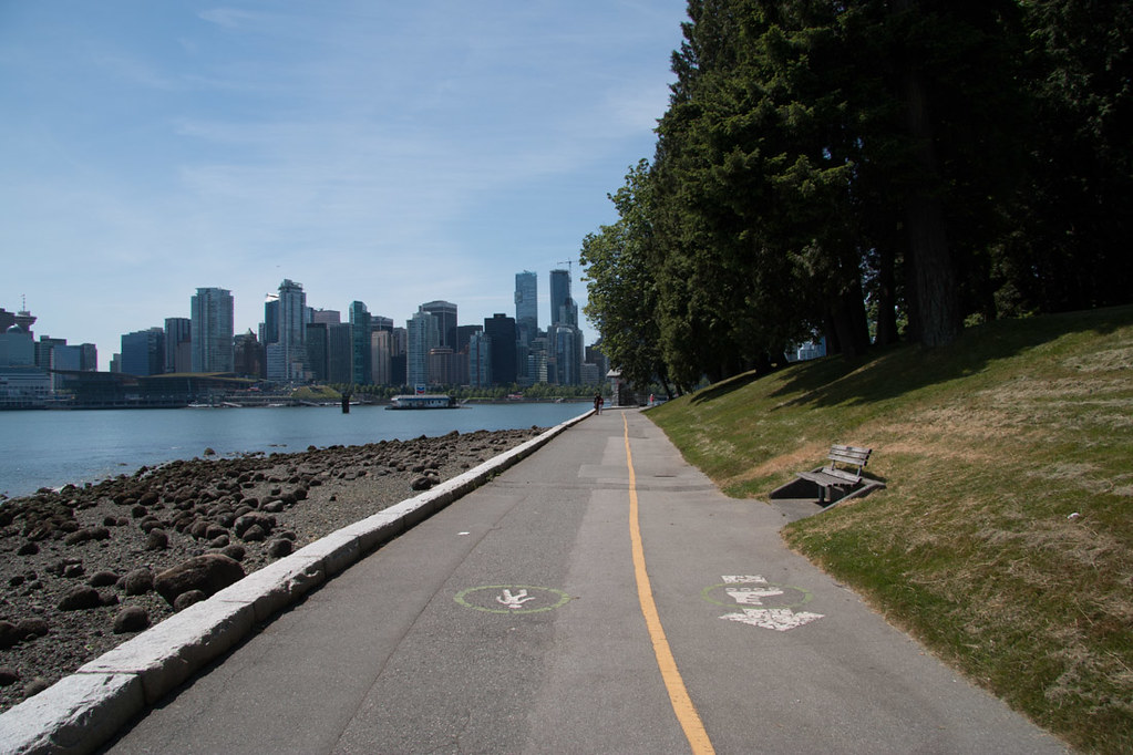 Bike and pedestrian lanes in Stanley park