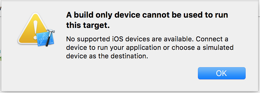 A build only device cannot be used to run this target.