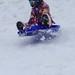 Snelle Eleni voor de eerste keer op wintersportvakantie.