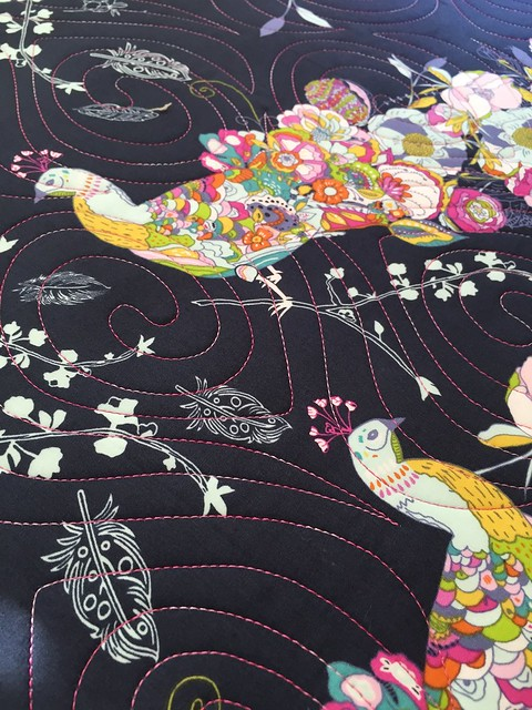 Closeup of Peacock Quilting