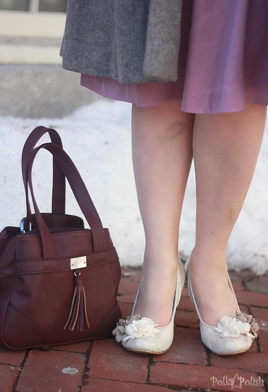 Irregular Choice lucite heeled pumps and purple handbag