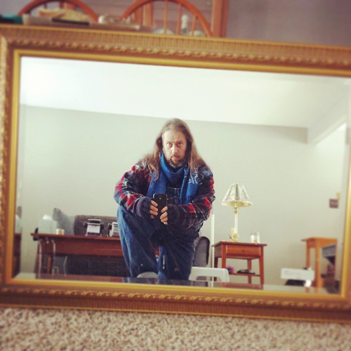 Man in the mirror #overalls #key #vintage #scarf #ootd