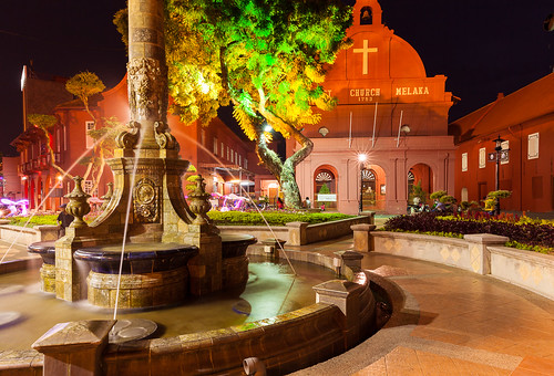 old city longexposure travel light red building green tourism church fountain colors dutch yellow architecture night square town colorful asia cityscape famous colonial illumination landmark scene illuminated malaysia destination melaka malacca touristic