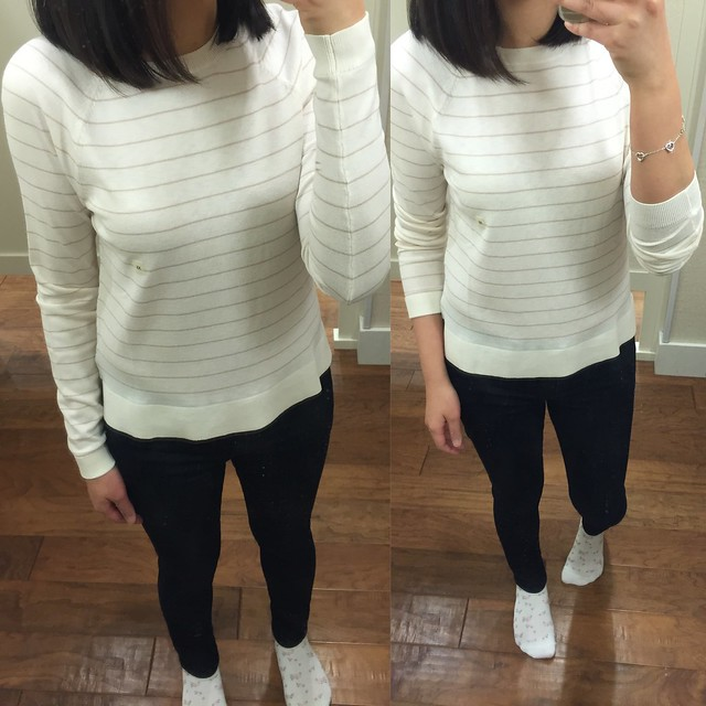 LOFT Striped Hi-Low Sweater, size XS