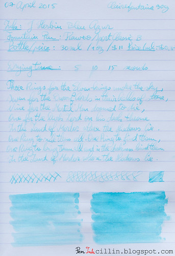 J Herbin Bleu Azur on Clairefontaine