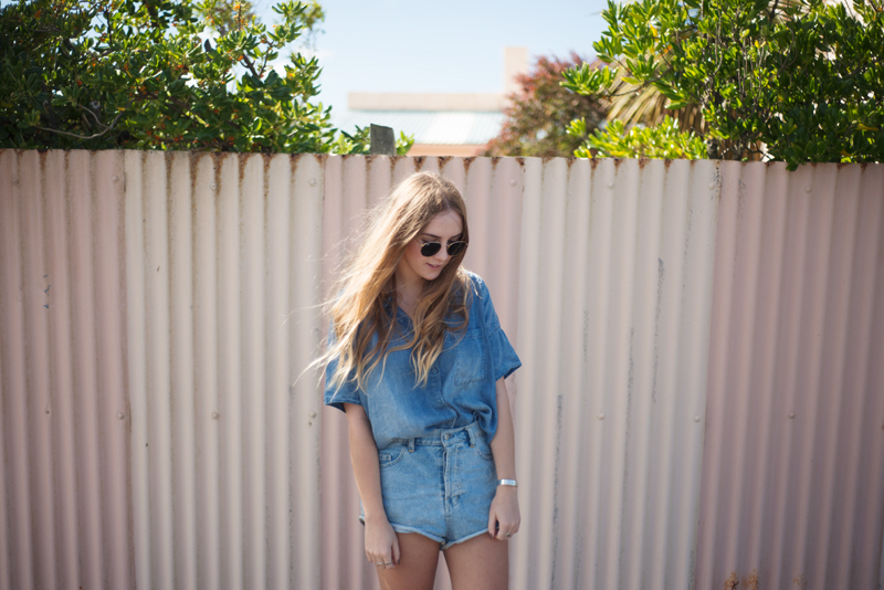 Glassons Denim Shirt, Friend of Mine Shorts, Ray-ban Round Sunglasses | Fashion Blogger | Stolen Inspiration - Kendra Alexandra