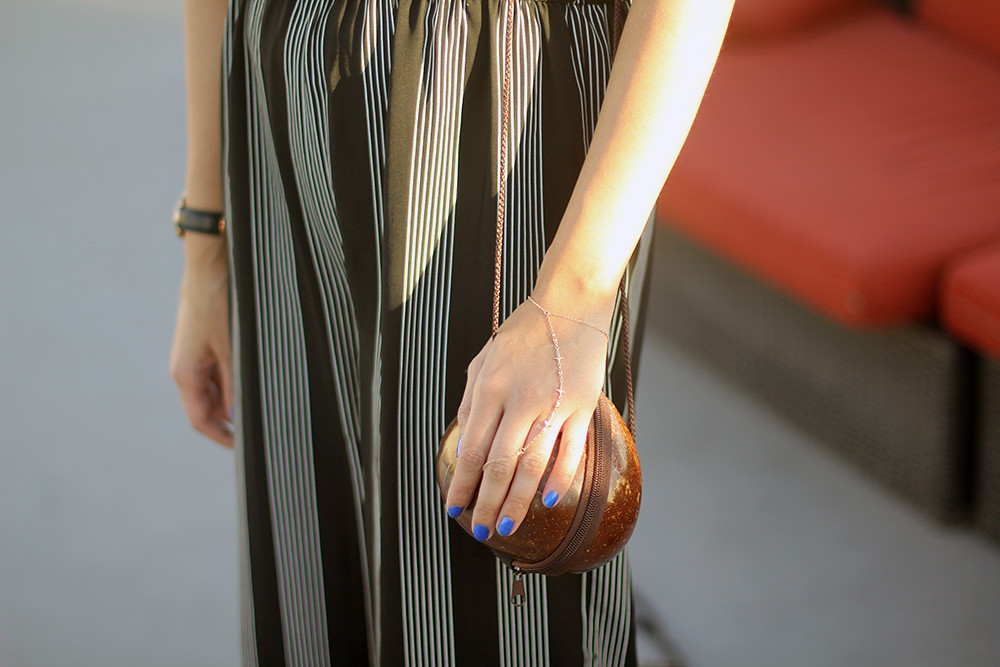 Striped jumpsuit, My Jewelry Bar hand chain, Lily Platform Sandals, Coconut purse, Brixton wide brim straw hat