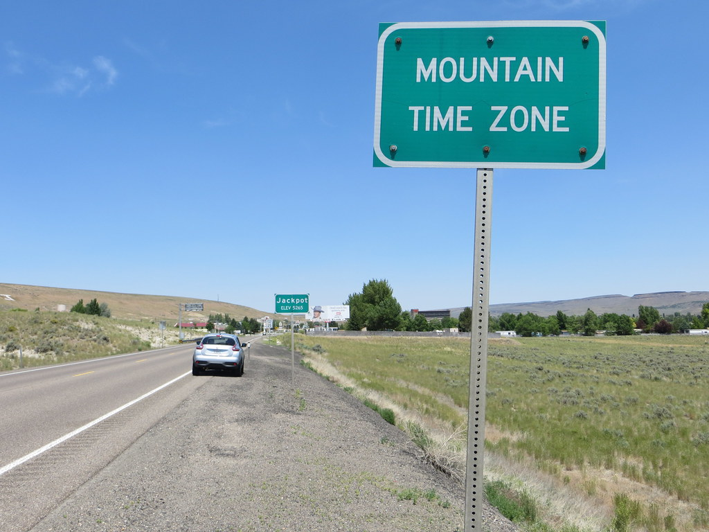 Mountain Time Zone sign, Jackpot