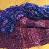 Spinning mohair curls to create a fluffy edge for this shrug.