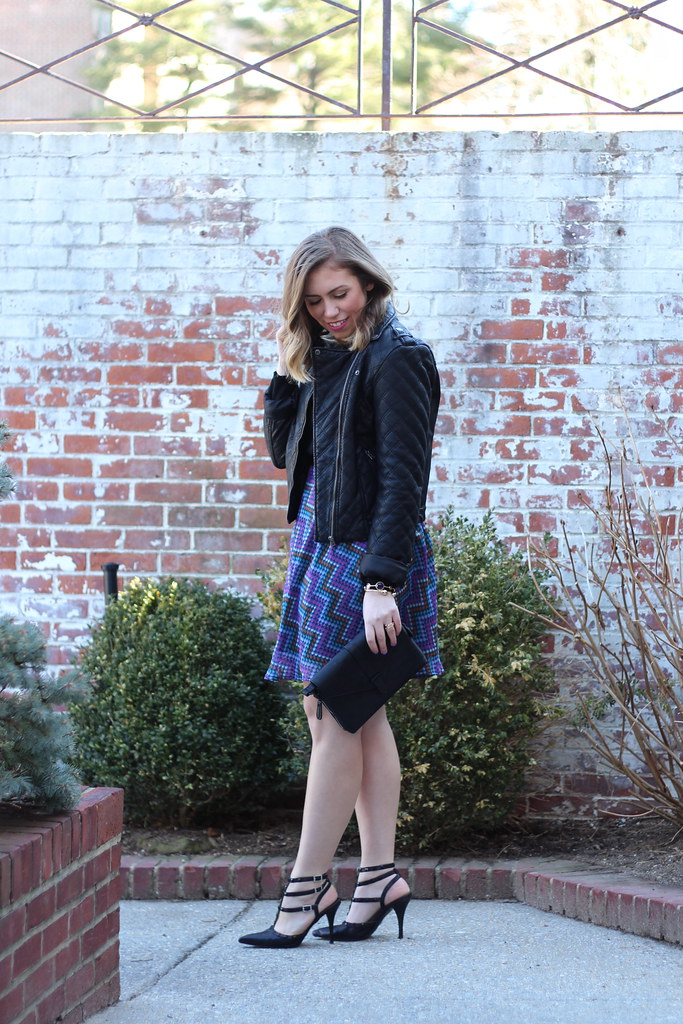Polka Dot Skirt & Black Moto Jacket | #LivingAfterMidnite