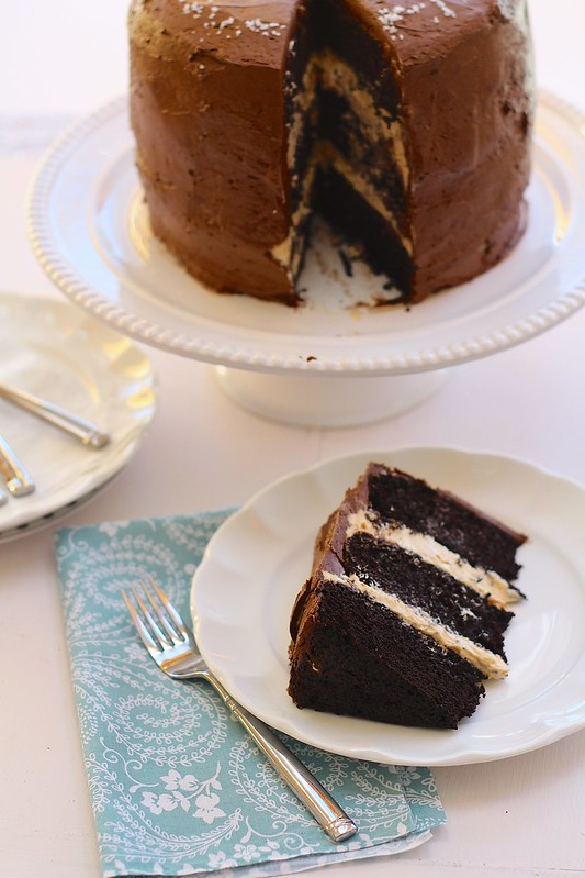 Dark Chocolate Cake with Salted Caramel