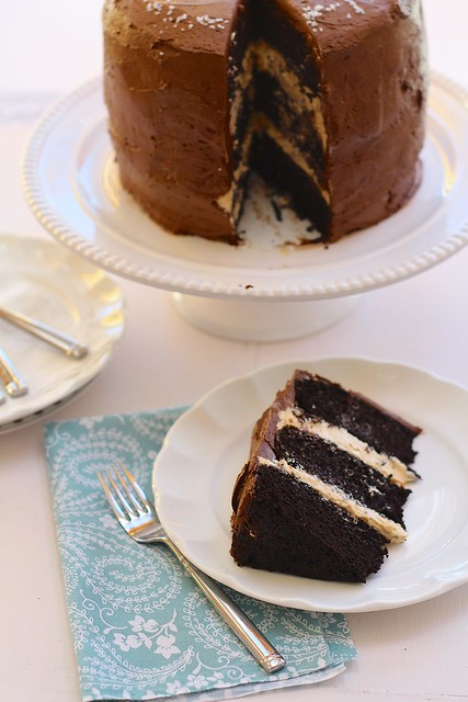 Dark Chocolate Cake with Salted Caramel