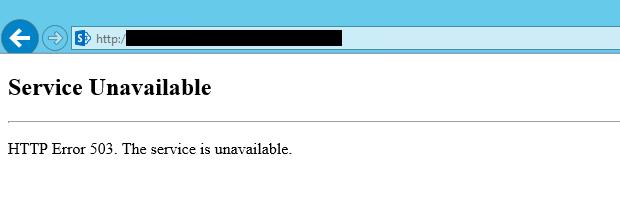 HTTP Error 503. Service Unavailable