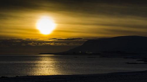 eve sunset sea sun water evening iceland sundown dusk calm fjord nightfall hvalfjordur