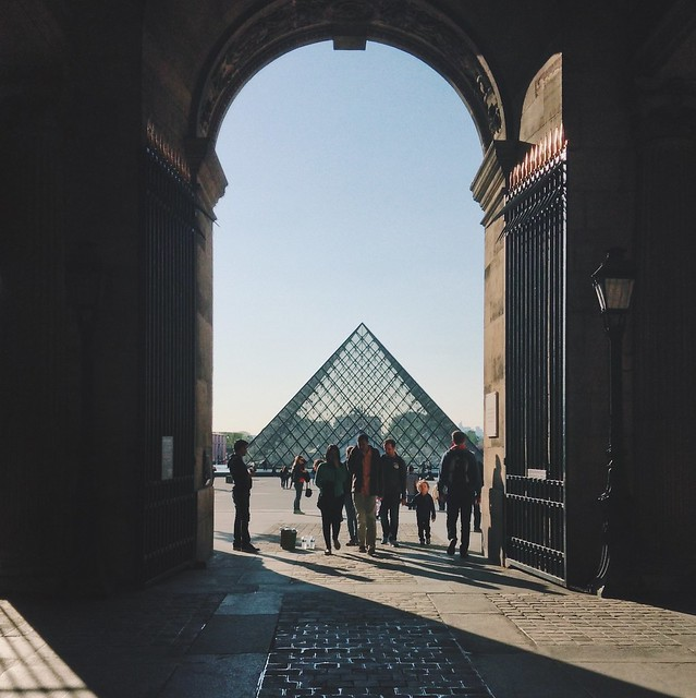 Sunset at the I.M. Pei's glass pyramid at the Louvre.
